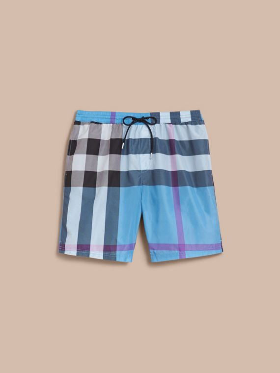 Check Swim Shorts in Cyan Blue