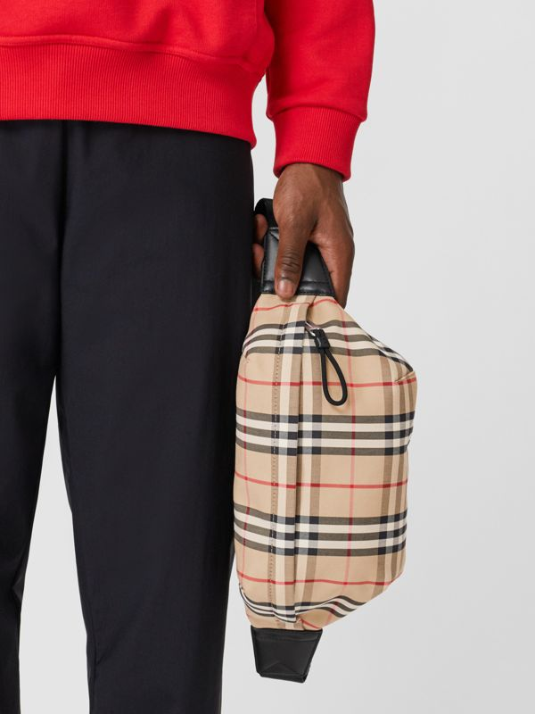 Medium Vintage Check Bonded Cotton Bum Bag in Archive Beige | Burberry - cell image 3