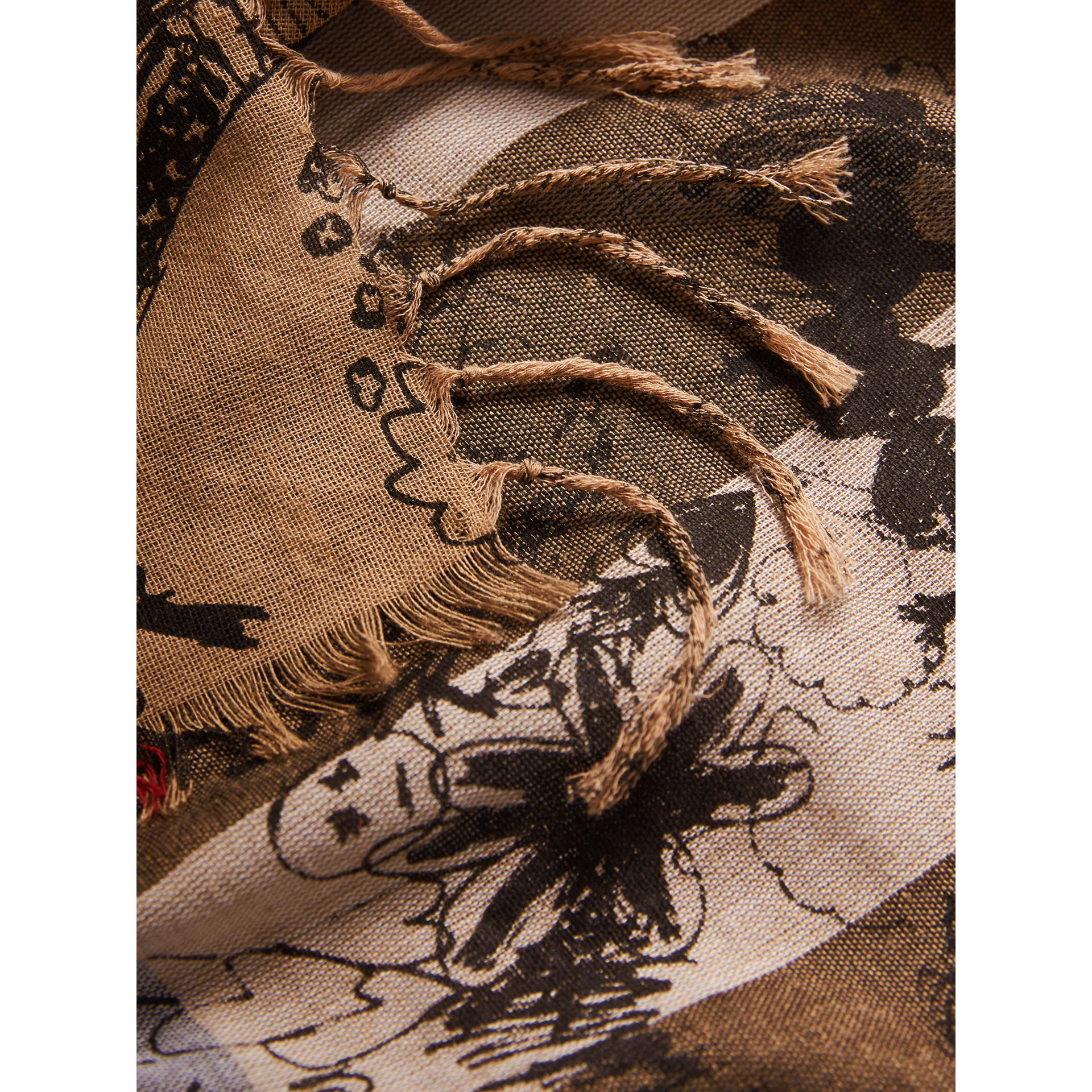 Doodle Print and Check Silk Cotton Scarf in Camel Check/black | Burberry - gallery image 1