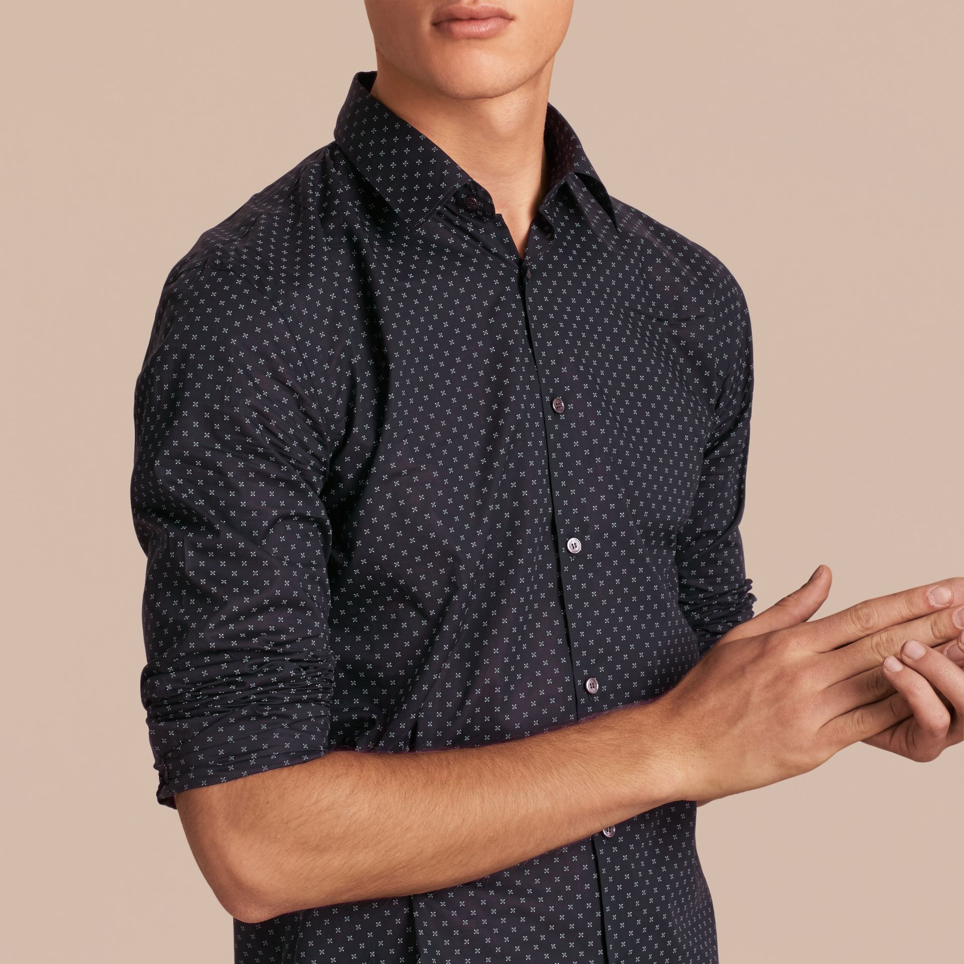 Navy Printed Cotton Poplin Shirt - gallery image 5