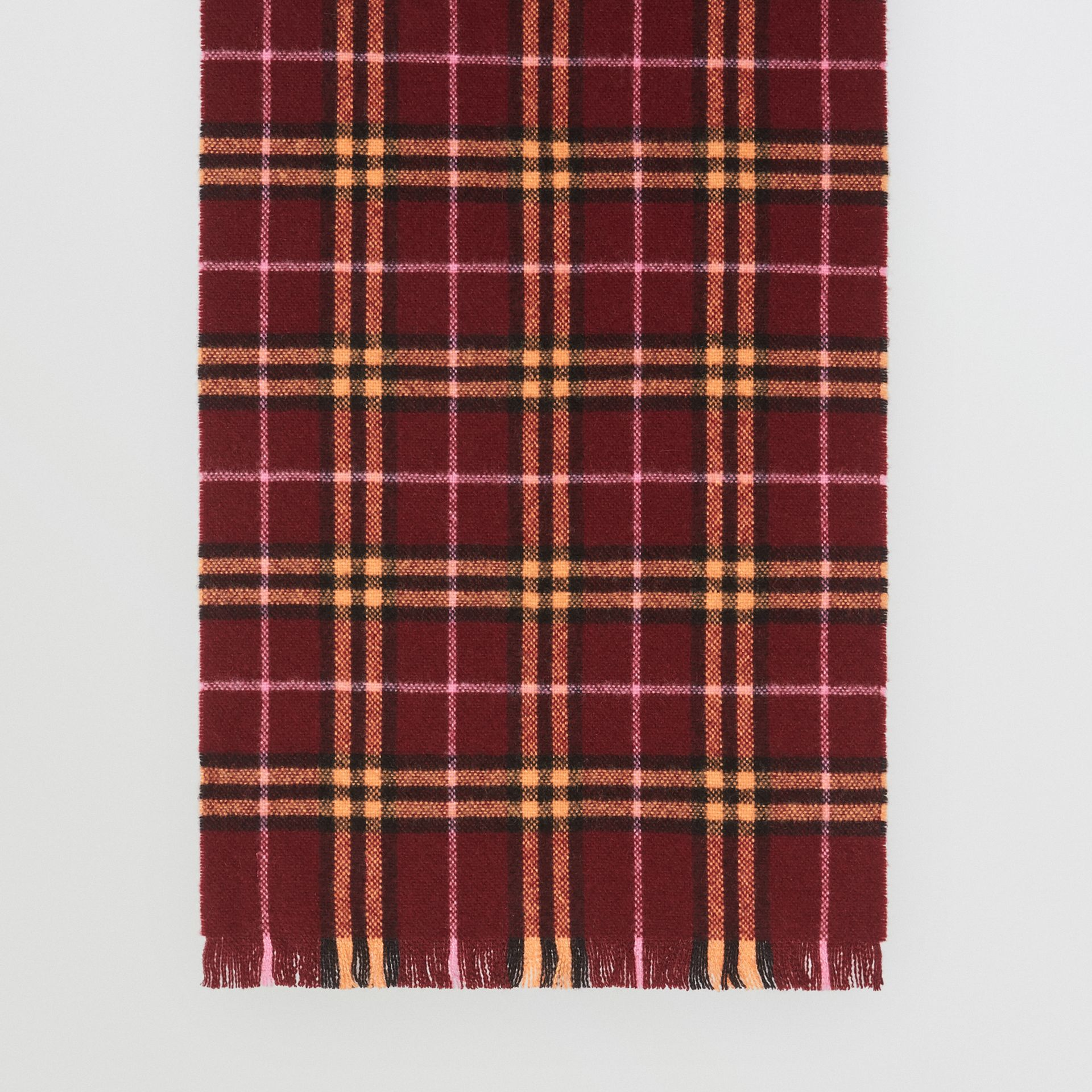 Check Cashmere Scarf in Dark Crimson | Burberry - gallery image 3