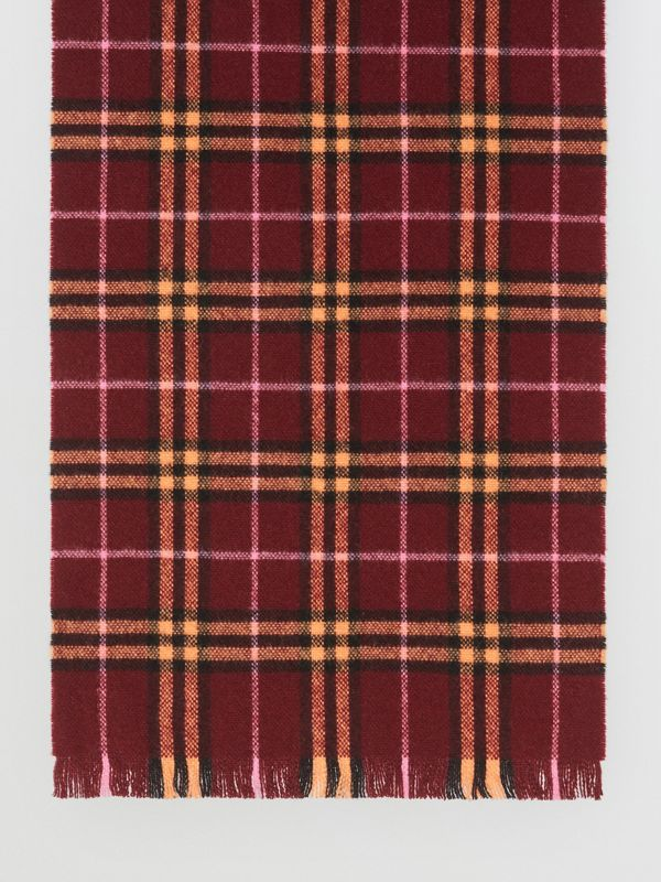 Check Cashmere Scarf in Dark Crimson | Burberry United States - cell image 3
