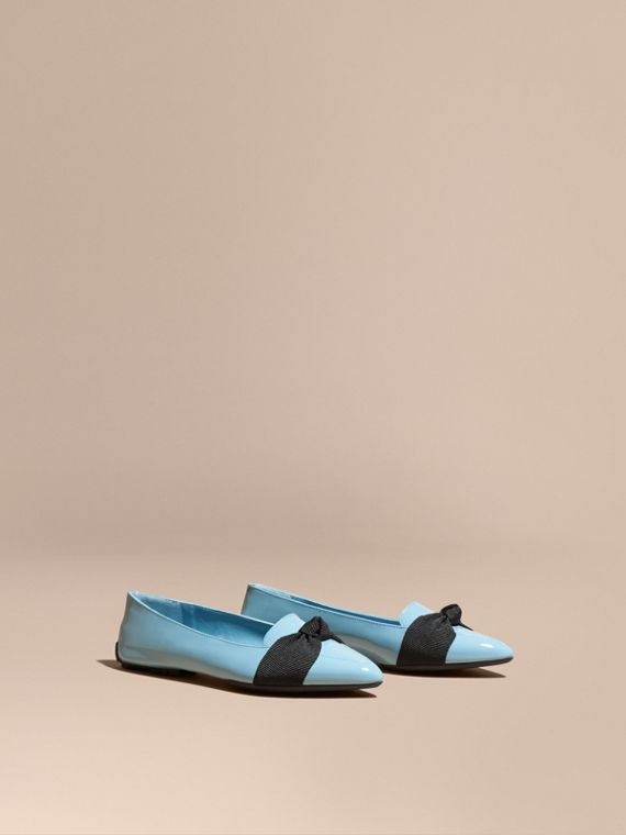 Patent Leather Loafers with Grosgrain Bow in Powder Blue