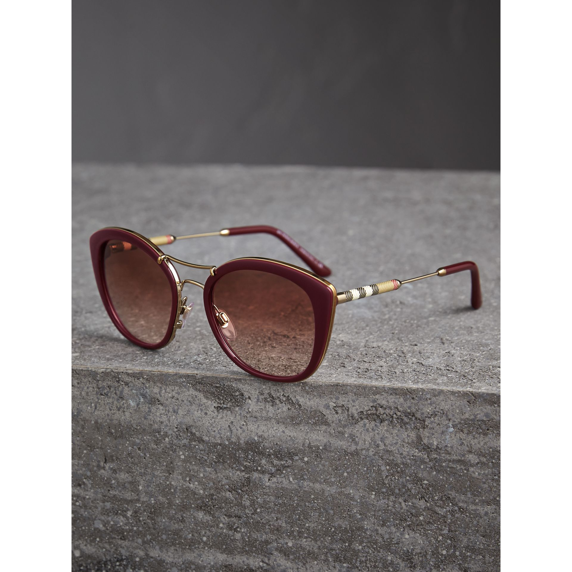 Check Detail Round Frame Sunglasses in Burgundy - Women | Burberry United States - gallery image 2