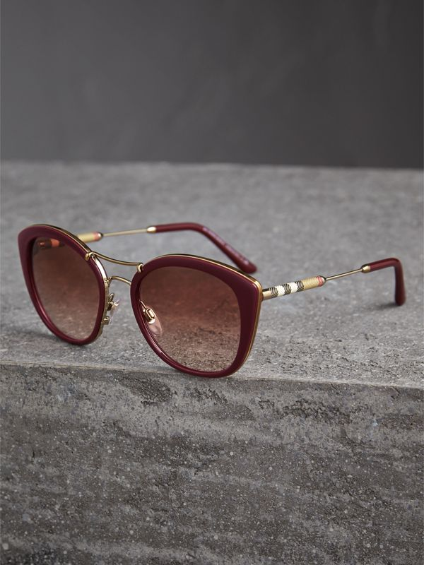 Check Detail Round Frame Sunglasses in Burgundy - Women | Burberry United States - cell image 2