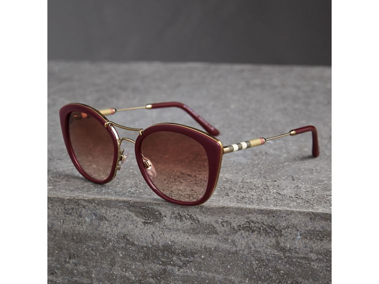 Check Detail Round Frame Sunglasses in Burgundy - Women | Burberry - cell image 2