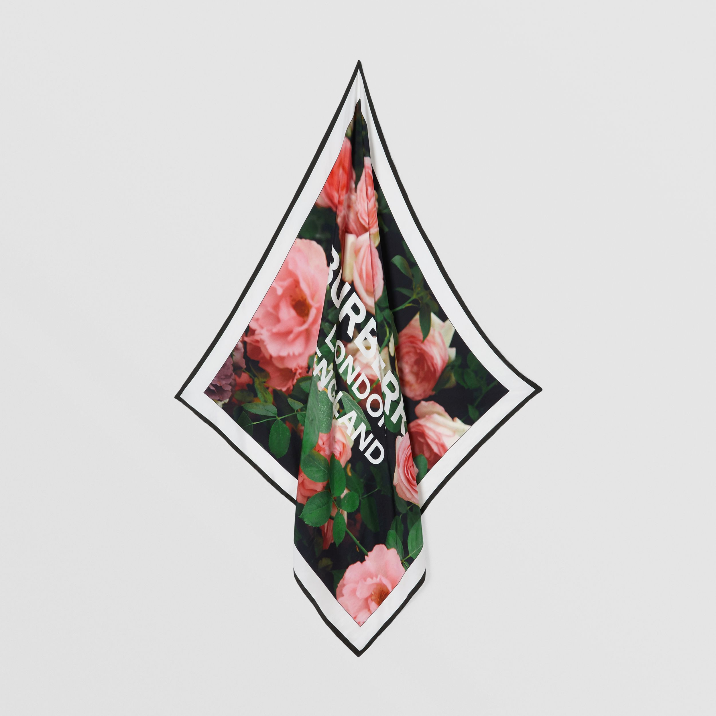 Floral and Logo Print Silk Square Scarf in Rose Pink | Burberry Australia - 4