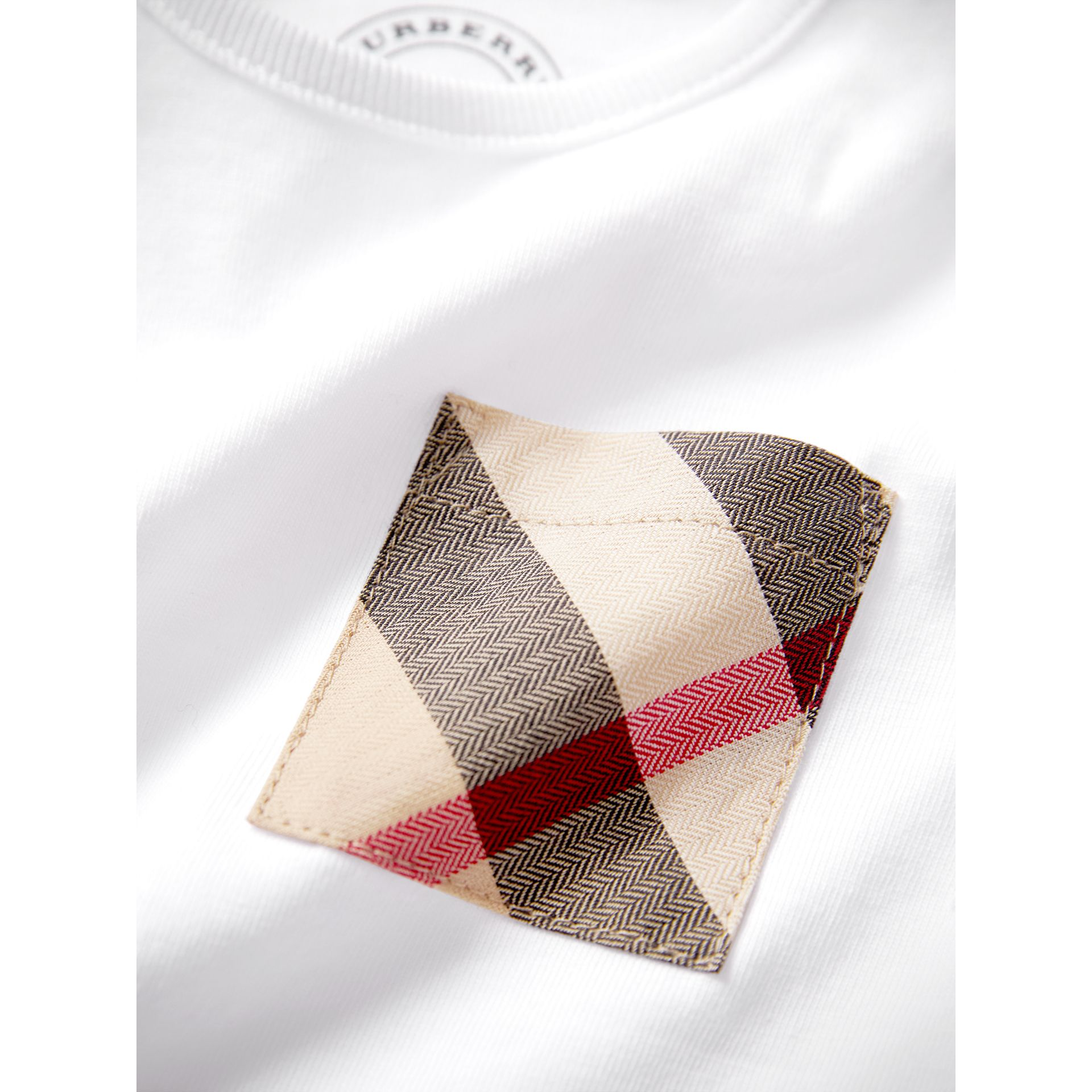 Check Pocket Cotton T-shirt in White | Burberry - gallery image 1
