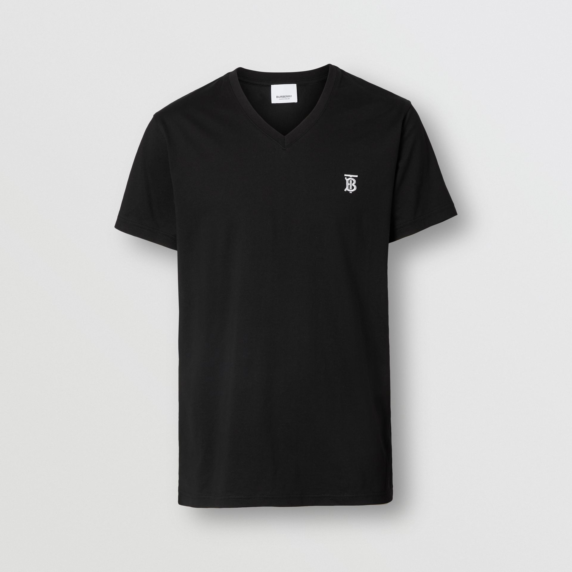 Monogram Motif Cotton V-neck T-shirt in Black - Men | Burberry United Kingdom - gallery image 3