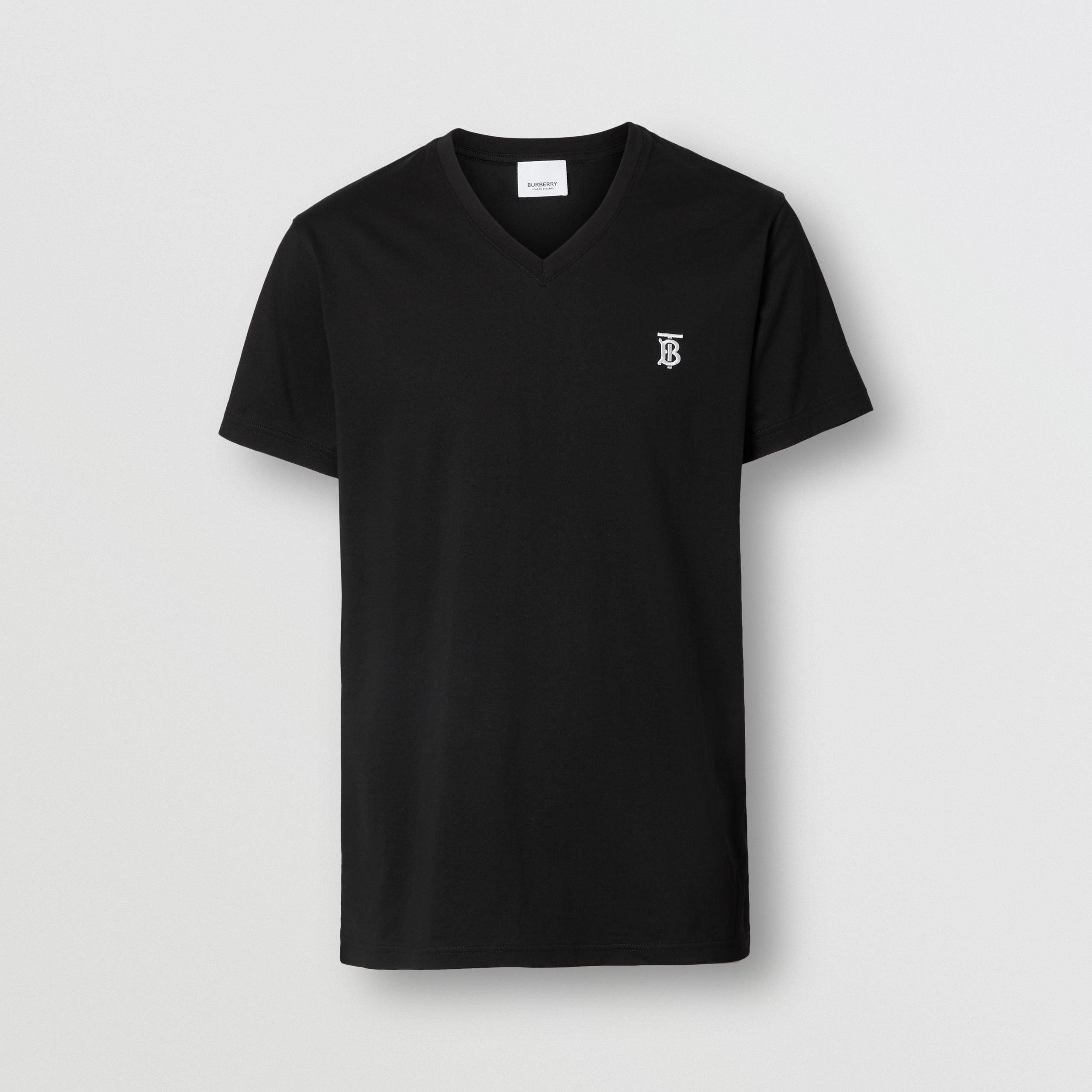 Monogram Motif Cotton V-neck T-shirt in Black - Men | Burberry - 4