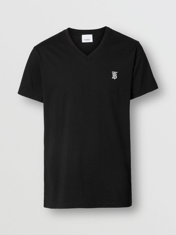 Monogram Motif Cotton V-neck T-shirt in Black