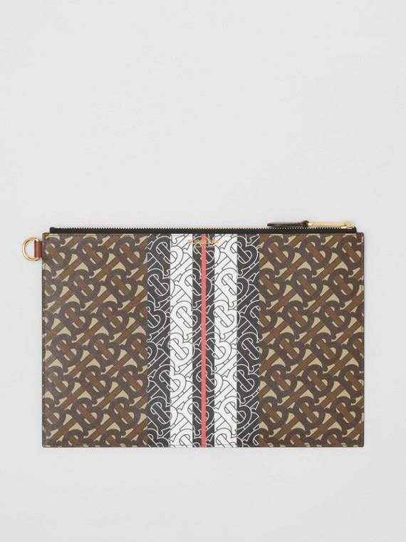 Bolsa pouch com zíper de lona ecológica com listras e monograma (Castanho Couro)