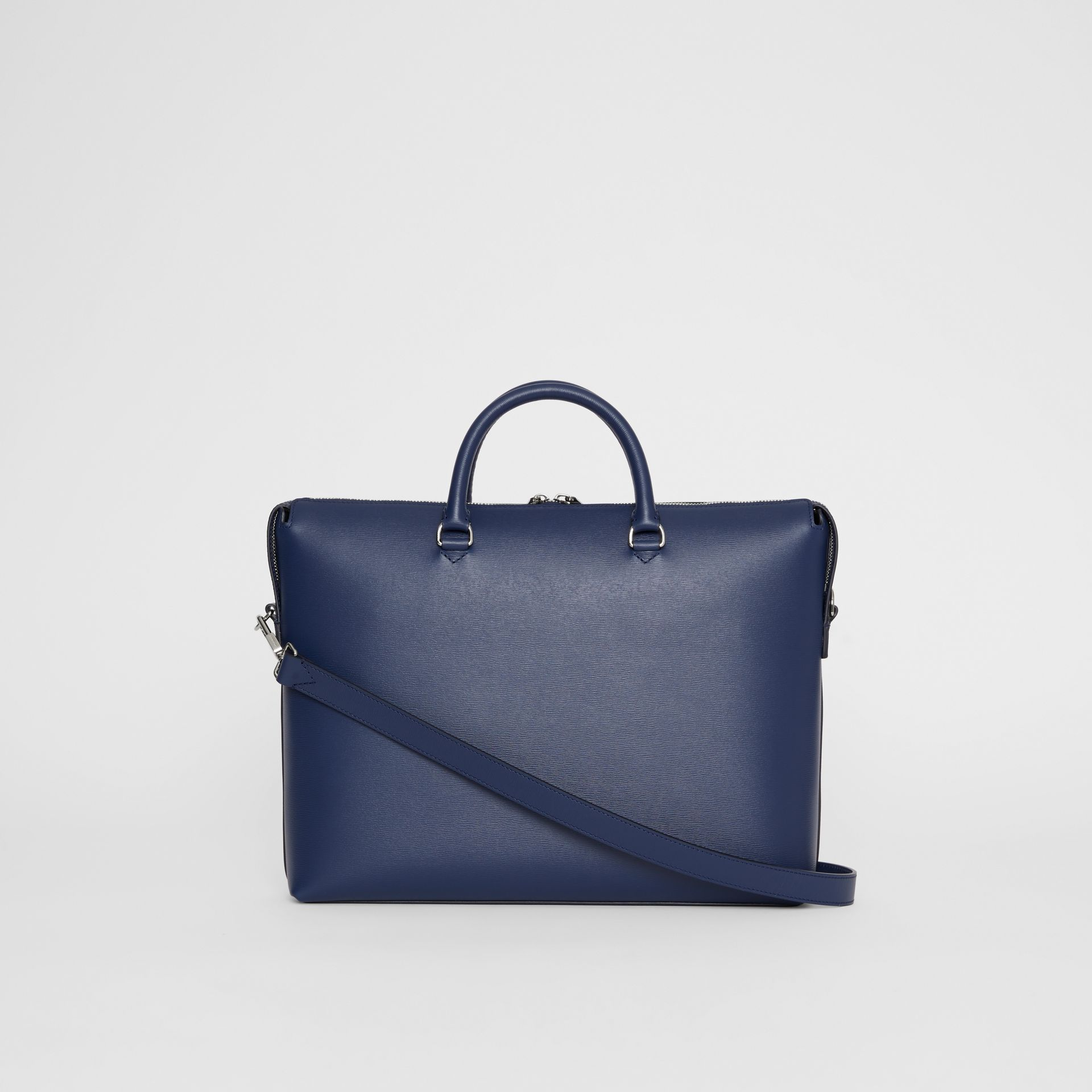 Large Textured Leather Briefcase in Navy - Men | Burberry United States - gallery image 5