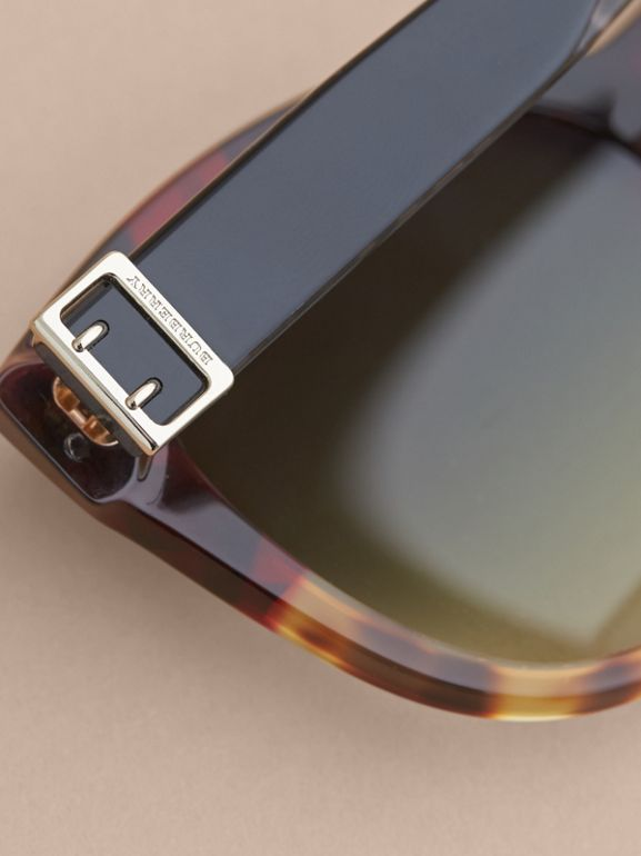 Buckle Detail Cat-eye Frame Sunglasses in Amber Yellow - Women | Burberry Hong Kong - cell image 1