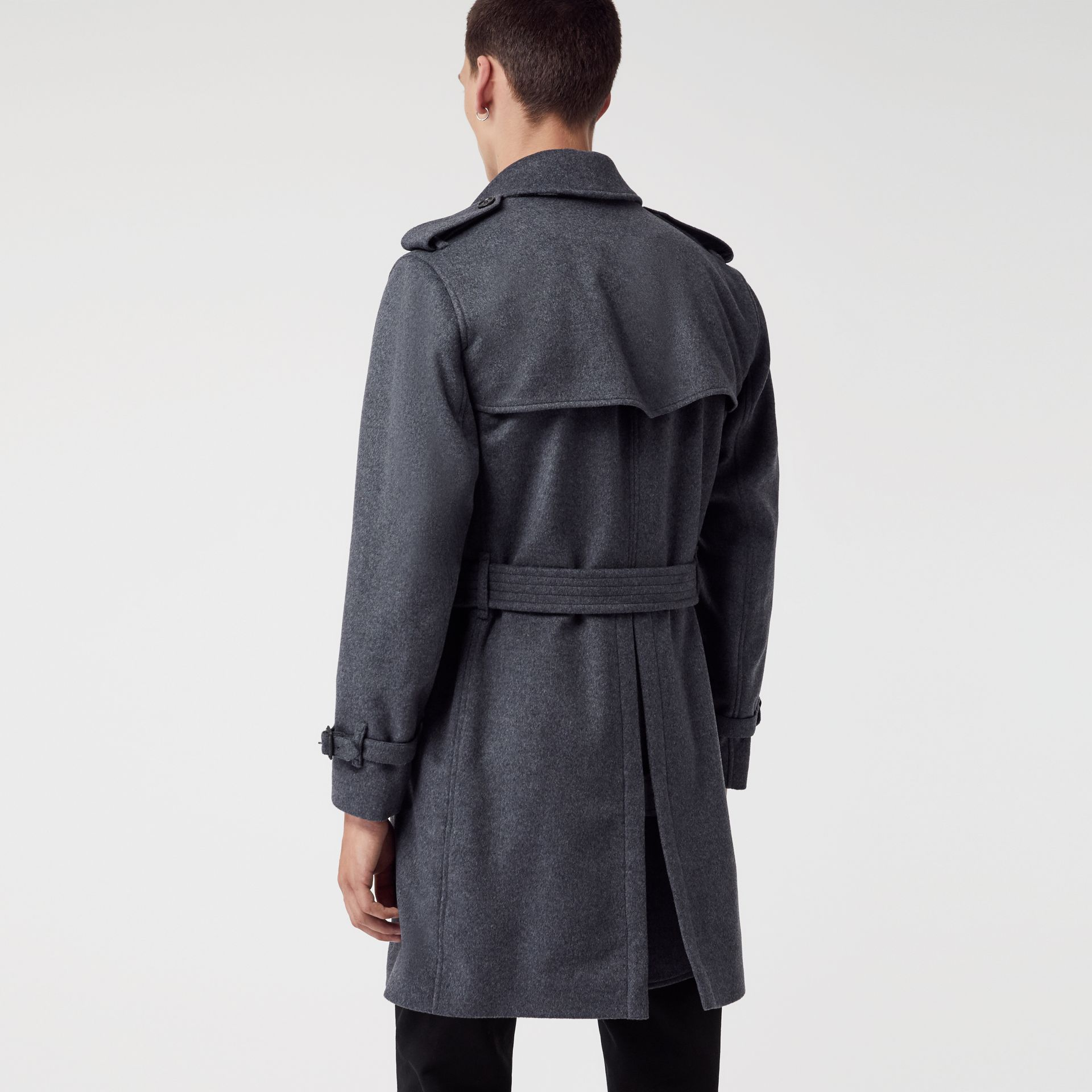 Wool Cashmere Trench Coat in Pewter Melange - Men | Burberry United States - gallery image 2