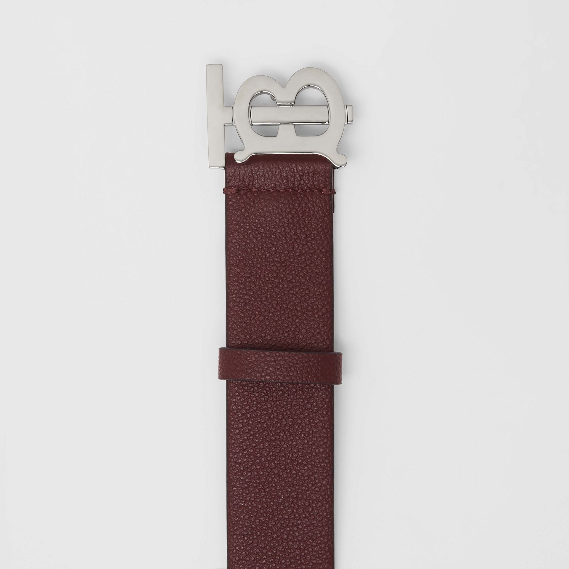 Monogram Motif Leather Belt in Oxblood - Men | Burberry Canada - gallery image 1