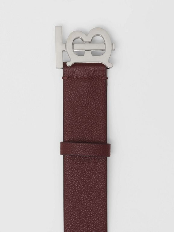 Monogram Motif Leather Belt in Oxblood - Men | Burberry - cell image 1