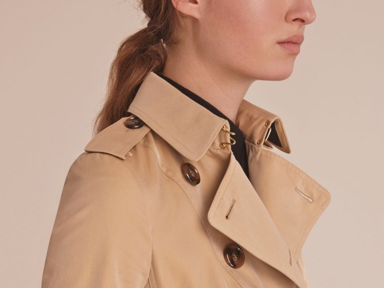 Leather Trim Cotton Gabardine Trench Coat in Honey - cell image 4