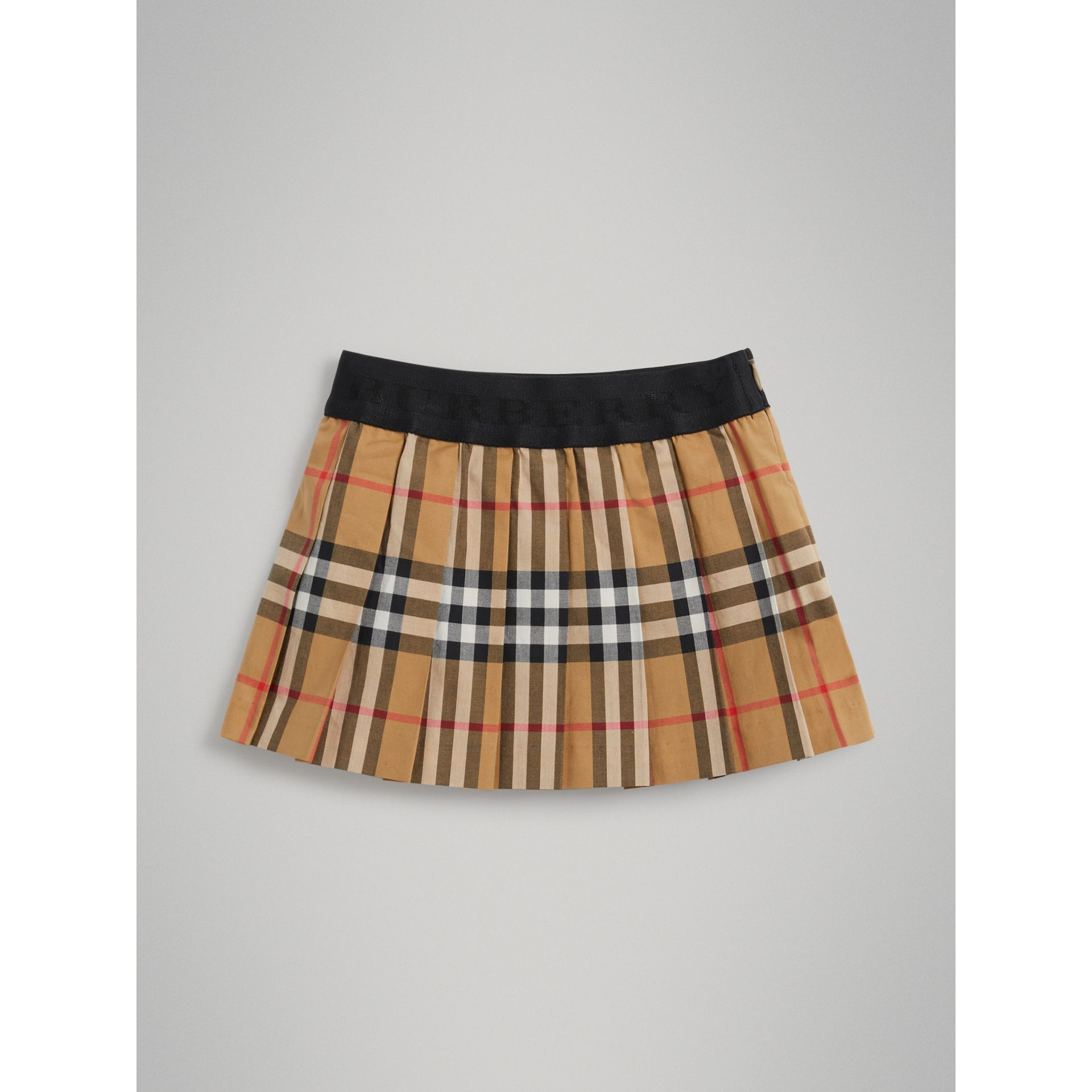 Pleated Vintage Check Cotton Skirt in Antique Yellow | Burberry - gallery image 3