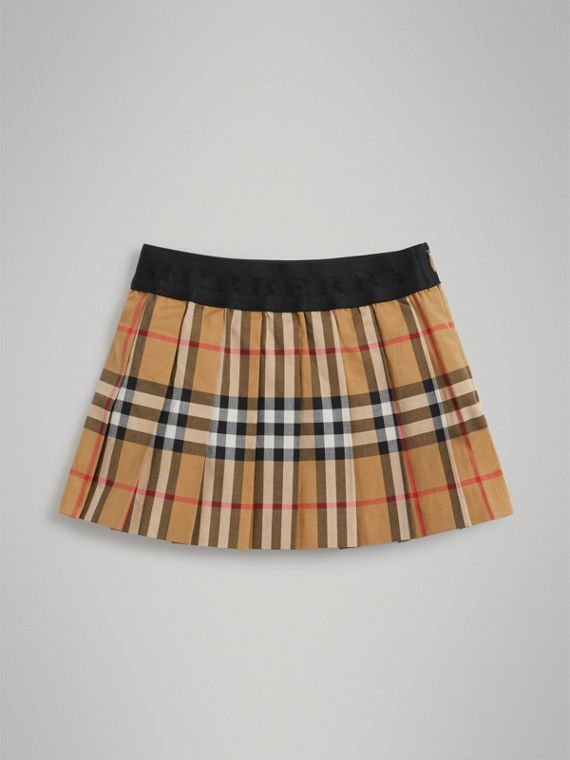 Pleated Vintage Check Cotton Skirt in Antique Yellow | Burberry Singapore - cell image 3