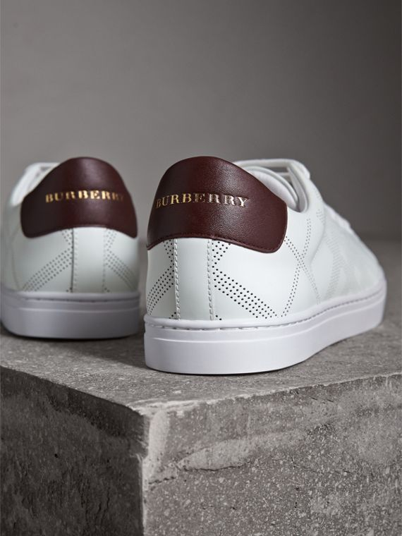 Perforated Check Leather Trainers in Optic Whit/deep Claret - cell image 2