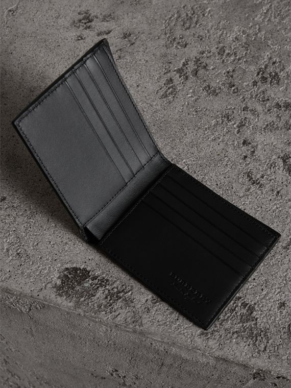 Embossed Leather International Bifold Wallet in Neon Yellow - Men | Burberry Hong Kong - cell image 3