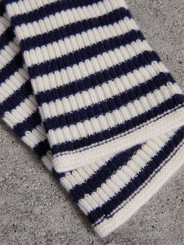 Striped Cashmere Fingerless Gloves in Navy | Burberry - cell image 2