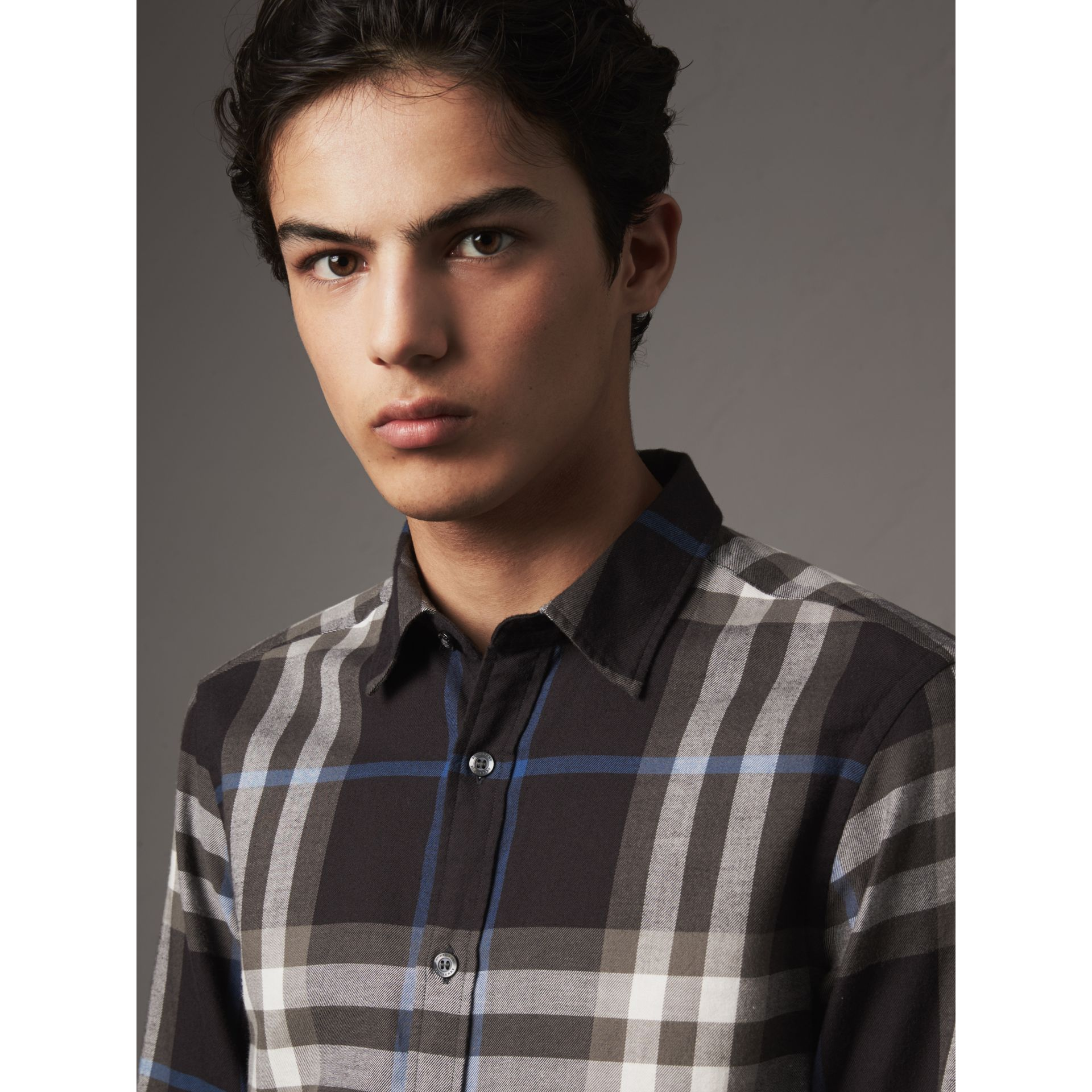 Check Cotton Flannel Shirt in Black - Men | Burberry - gallery image 2