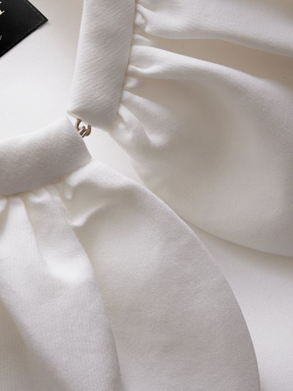 Cropped Cotton and Silk Cape in White | Burberry - cell image 1