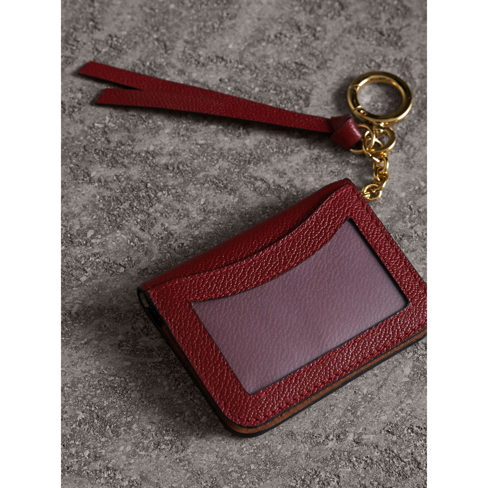 Leather and Haymarket Check ID Card Case Charm in Burgundy/multicolour - Women | Burberry Canada - gallery image 2