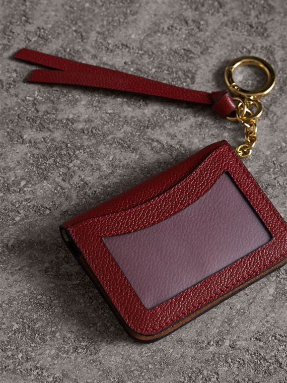Leather and Haymarket Check ID Card Case Charm in Burgundy/multicolour - Women | Burberry - cell image 2