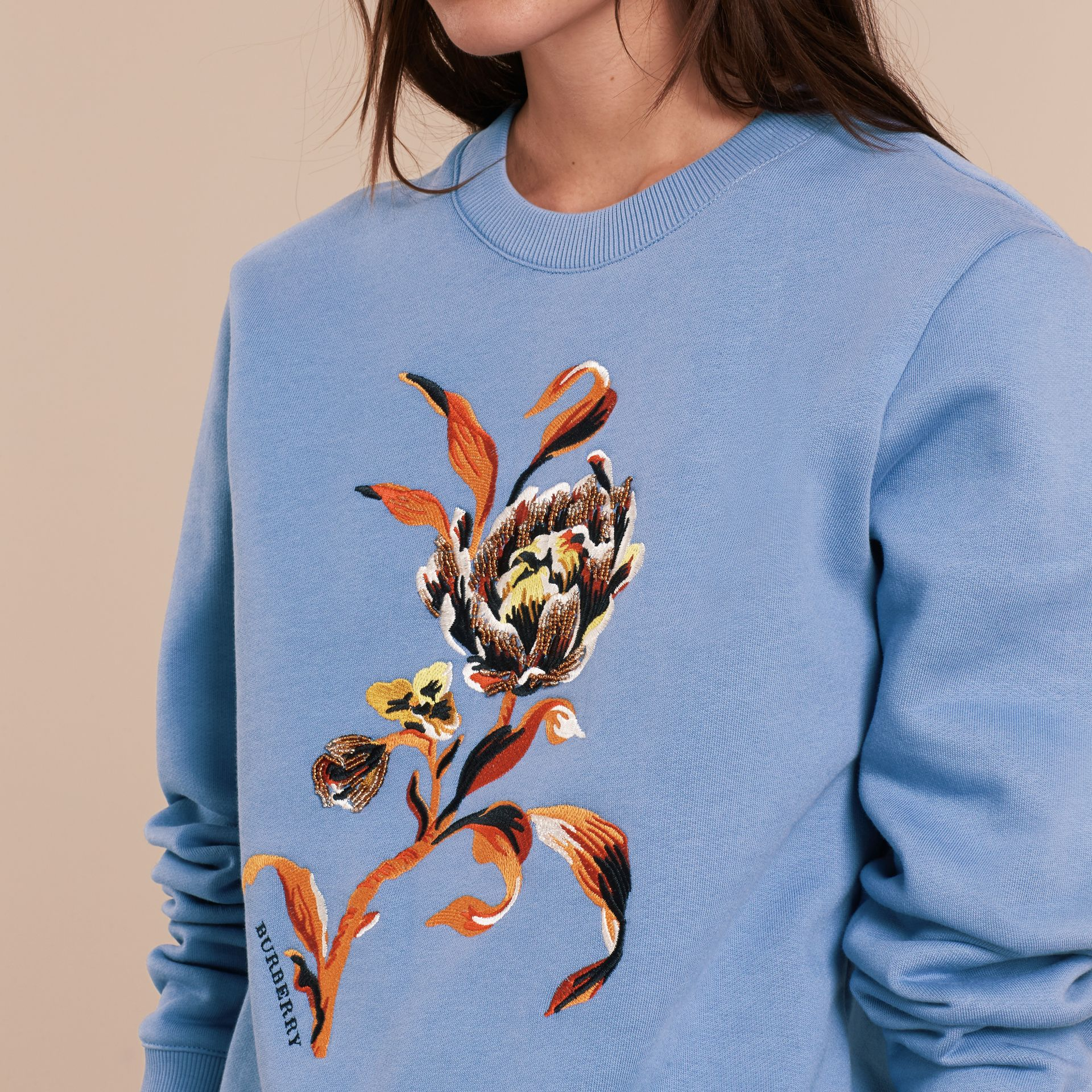 Embroidered Floral Motif Cotton Blend Sweatshirt Pale Hydrangea Blue - gallery image 5