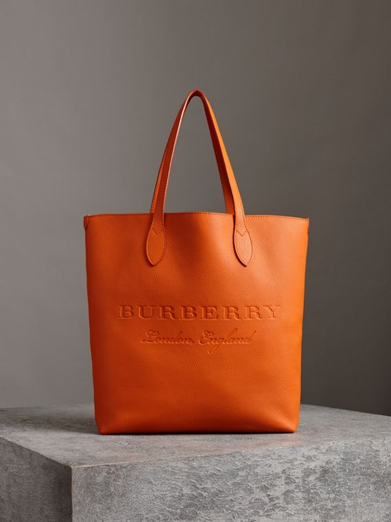 Embossed Leather Tote in Dark Clementine