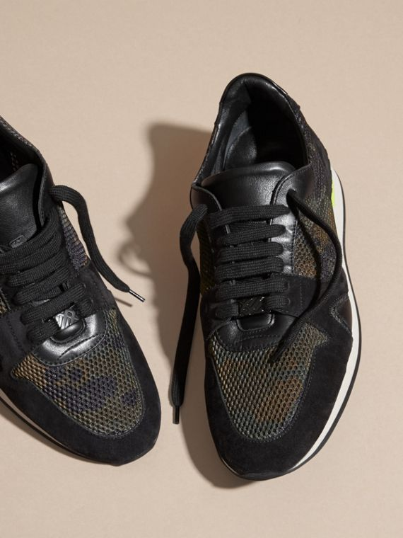 Dark green ochre The Field Sneaker in Suede and Camouflage Mesh - cell image 2