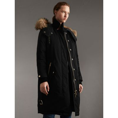 Down-filled Parka Coat with Detachable Fur Trim in Black - Women ...
