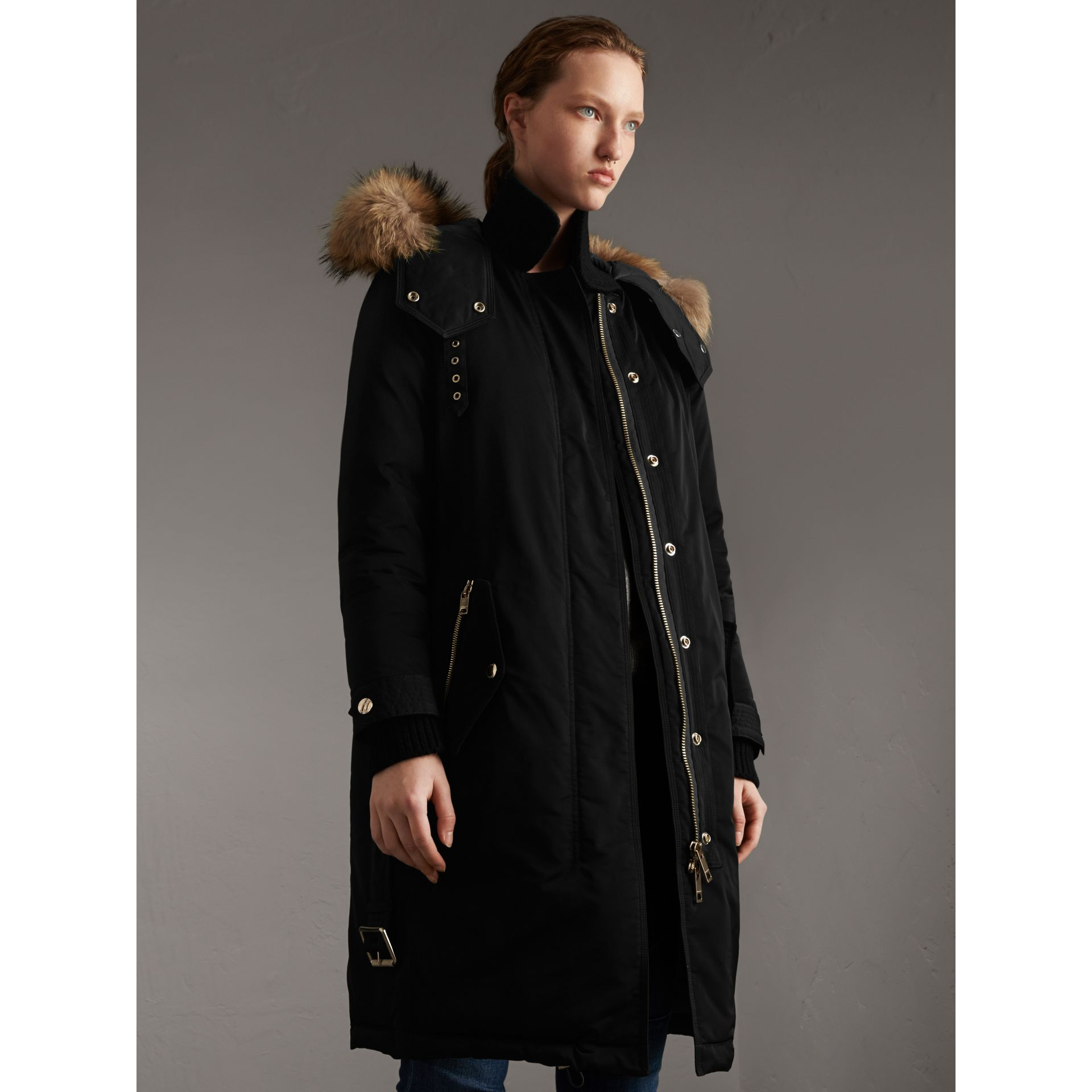 Down-filled Parka Coat with Detachable Fur Trim in Black - Women | Burberry United States - gallery image 1