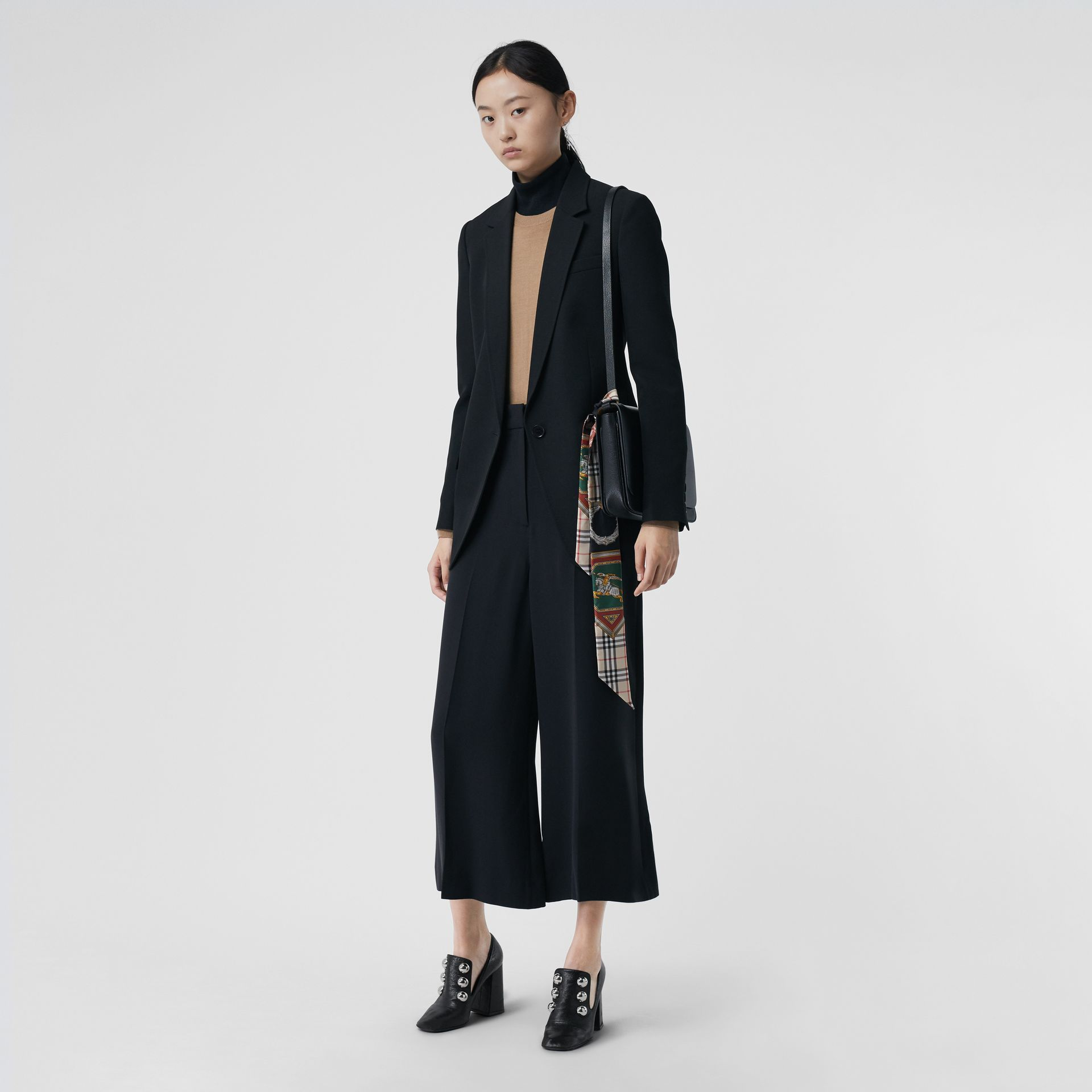 Silk Wool Tailored Culottes in Black - Women | Burberry - gallery image 0