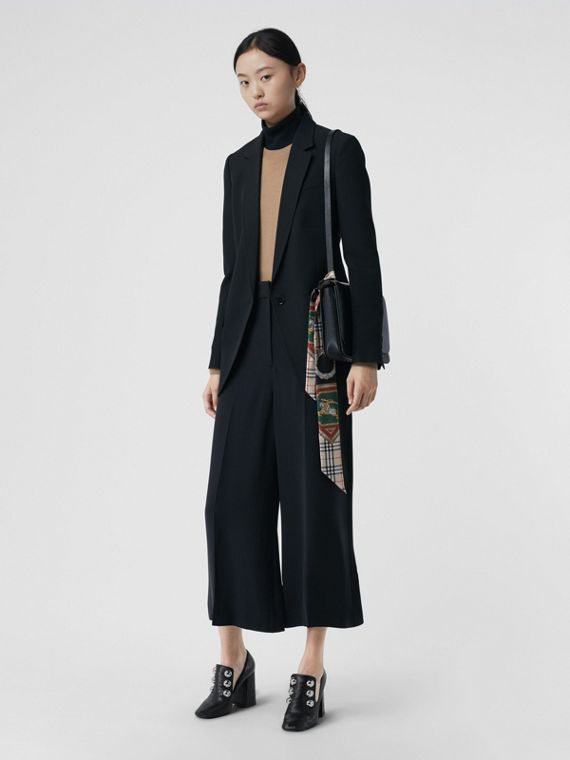 Silk Wool Tailored Culottes in Black