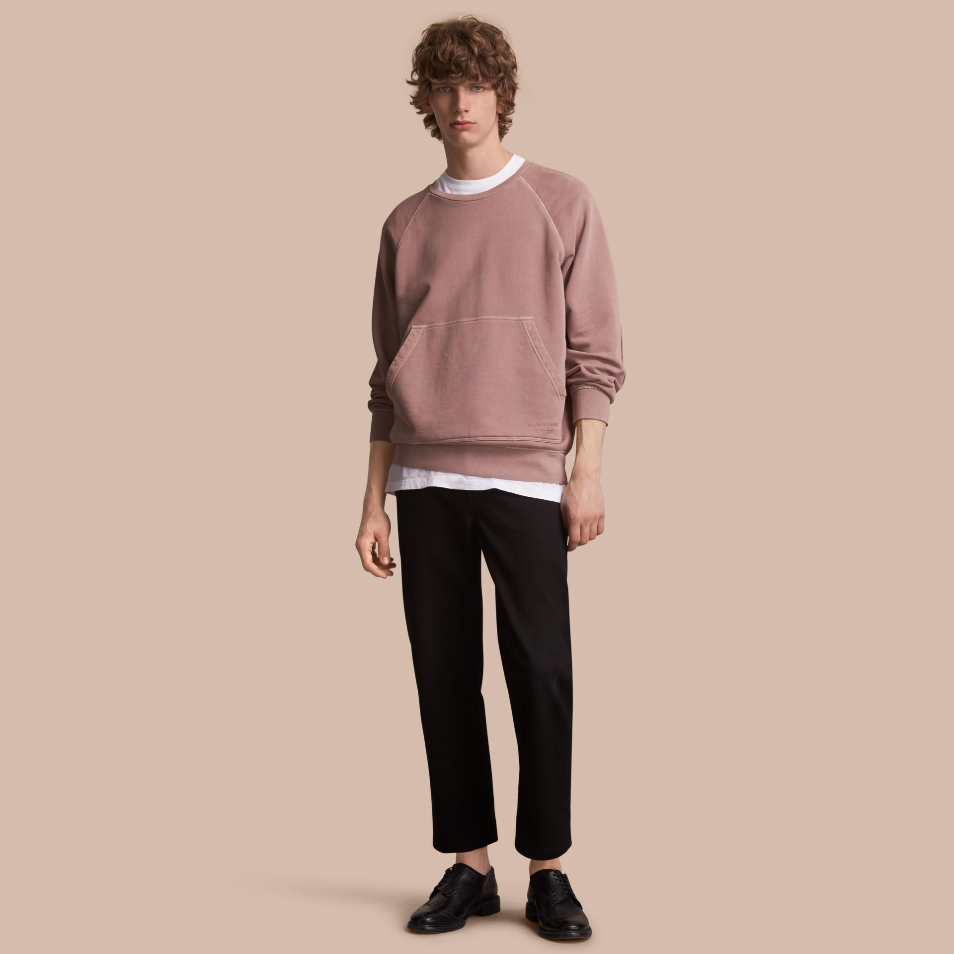 Unisex Pigment-dyed Cotton Oversize Sweatshirt Dusty Mauve - gallery image 1