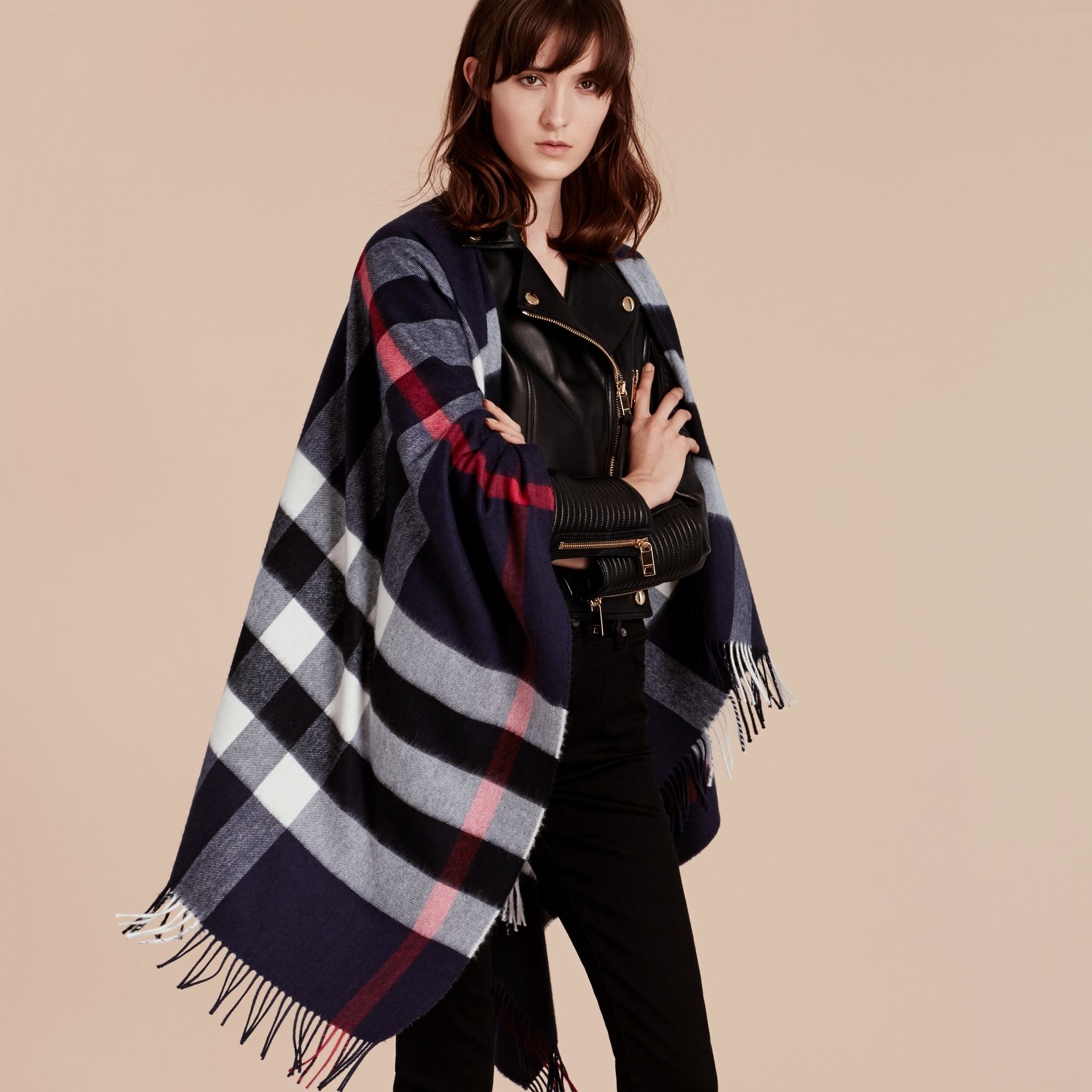 Check Cashmere and Wool Poncho in Navy - Women | Burberry - gallery image 8
