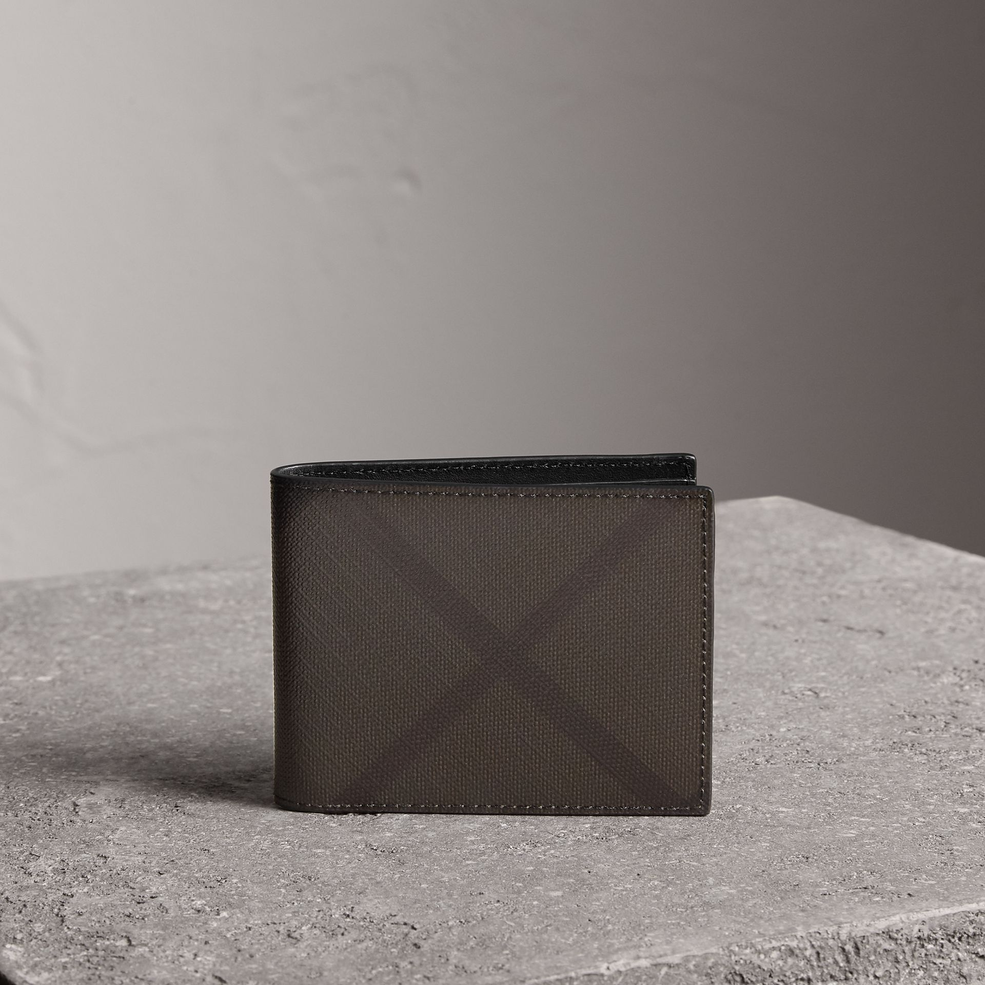 London Check and Leather Bifold Wallet in Chocolate/black - Men | Burberry United States - gallery image 0