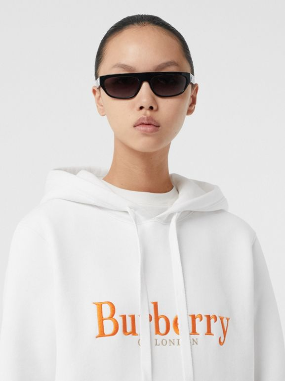Embroidered Archive Logo Jersey Hoodie in White - Women | Burberry United Kingdom - cell image 1