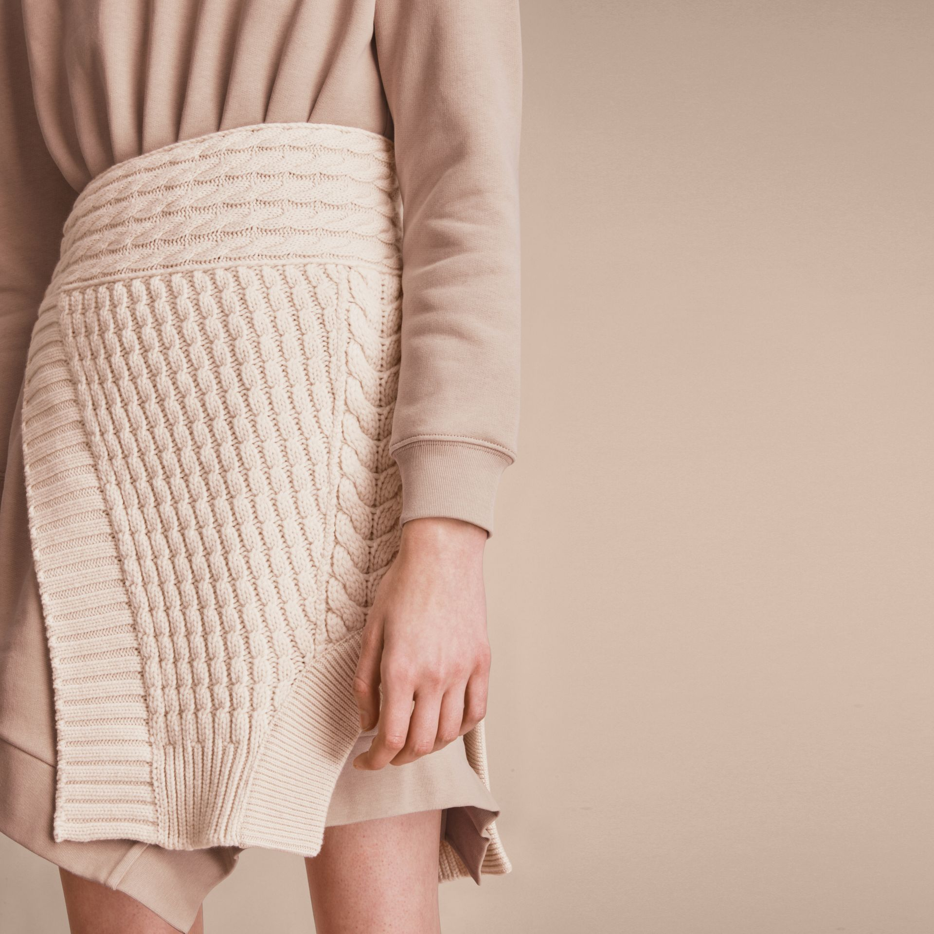 Cashmere Cable Knit Panel Sweatshirt Dress in Natural White - Women | Burberry - gallery image 4