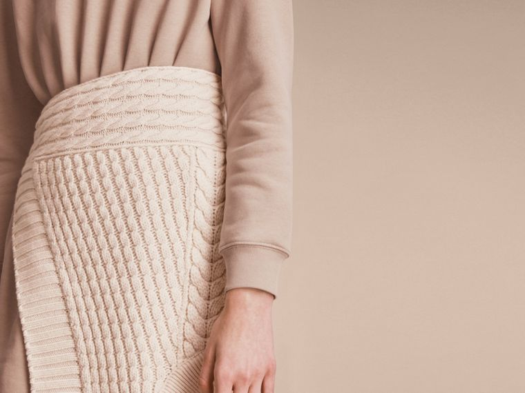 Cashmere Cable Knit Panel Sweatshirt Dress in Natural White - Women | Burberry - cell image 4