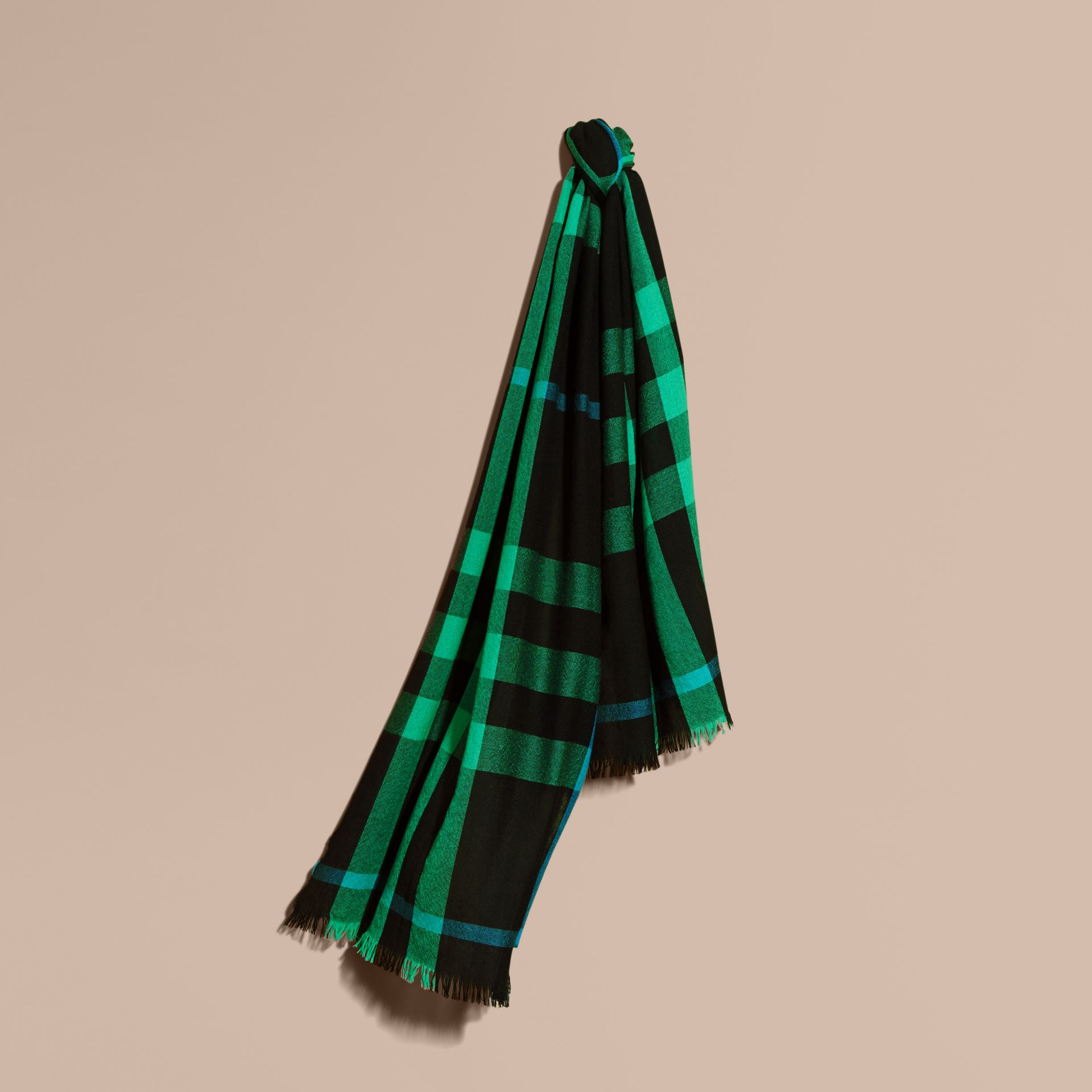 Lightweight Check Wool Cashmere Scarf Bright Green - gallery image 1
