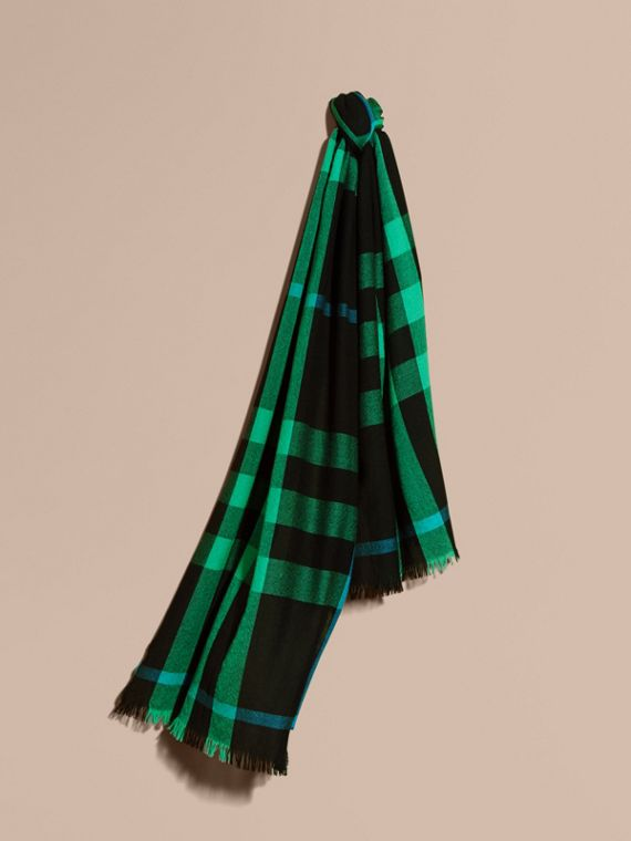 Lightweight Check Wool Cashmere Scarf Bright Green