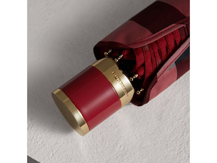 Check Folding Umbrella in Parade Red | Burberry Hong Kong - cell image 1