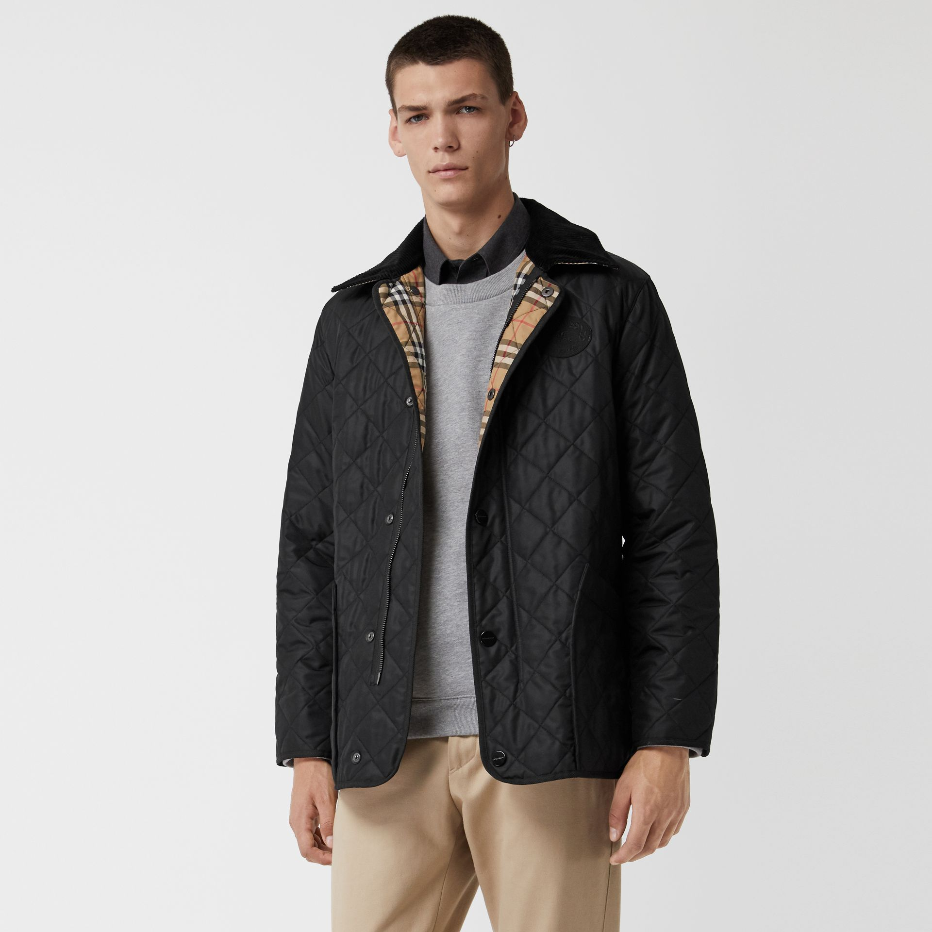 Diamond Quilted Thermoregulated Barn Jacket in Black - Men | Burberry Australia - gallery image 6