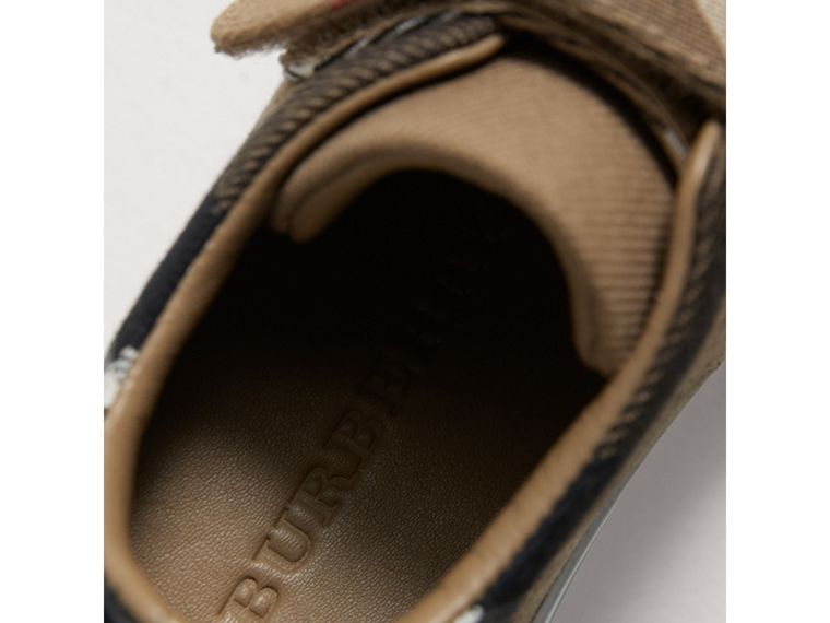 House Check and Leather Trainers in Classic/optic White | Burberry - cell image 1