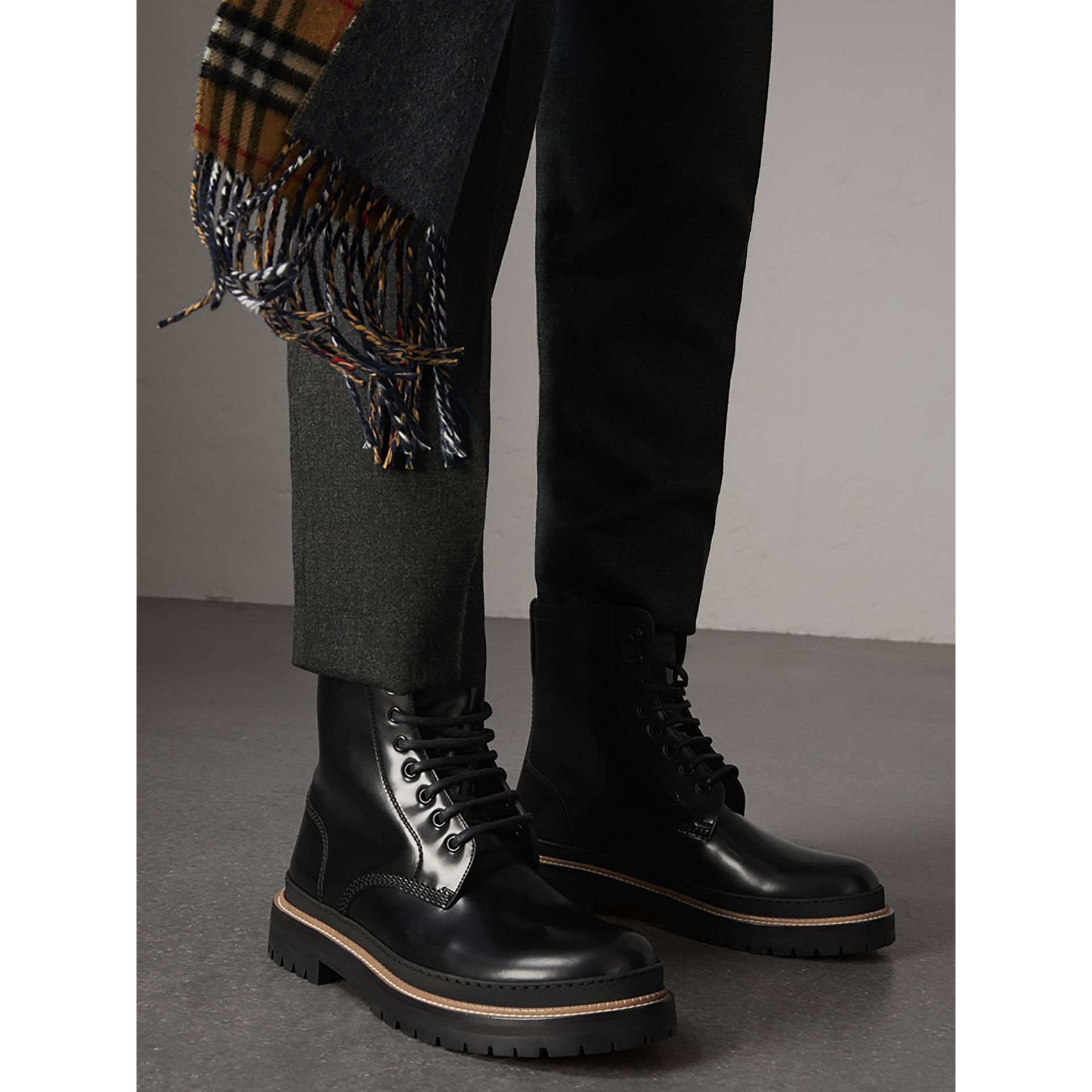 Lace-up Polished Leather Boots in Black - Men | Burberry United States - gallery image 2